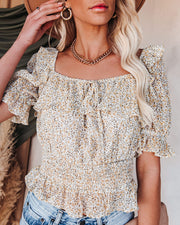 Breathe It In Floral Ruffle Crop Blouse