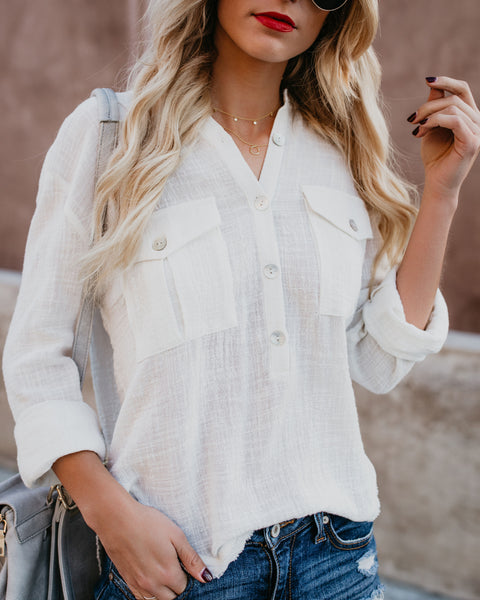 Breathless Cotton Button Down Top