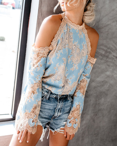 Breath Of Fresh Air Cold Shoulder Lace Top