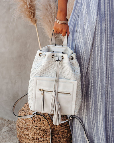Brea Woven Tassel Backpack - White