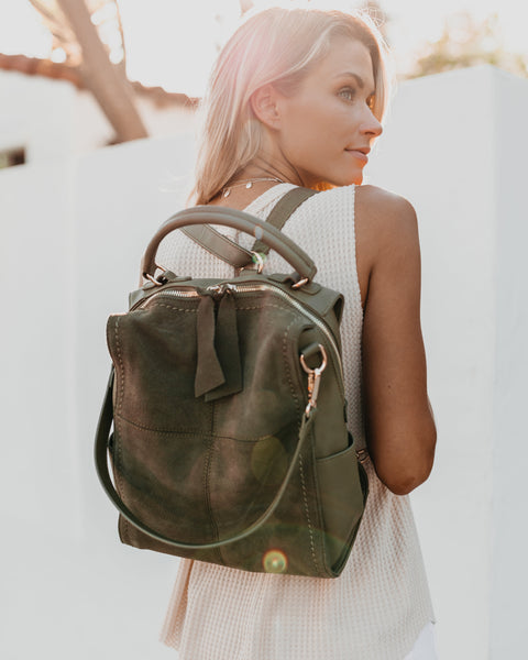 Brette Convertible Backpack - Olive
