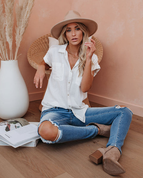 PREORDER - Brielle Linen Blend Button Down Top