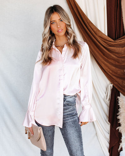 Brielle Satin Button Down Ruffle Blouse