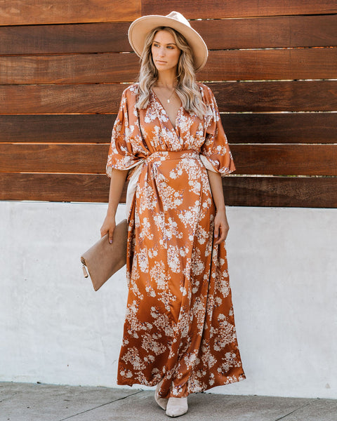 Bring Back Memories Tie Back Kimono Maxi Dress - Camel