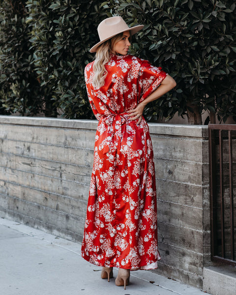 Bring Back Memories Tie Back Kimono Maxi Dress - Vintage Red - FINAL SALE