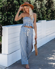 Brisbane Cotton Smocked Striped Tube Top