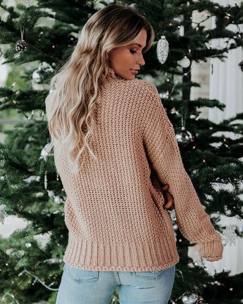 Britney Mock Neck Sweater - Buff - FINAL SALE