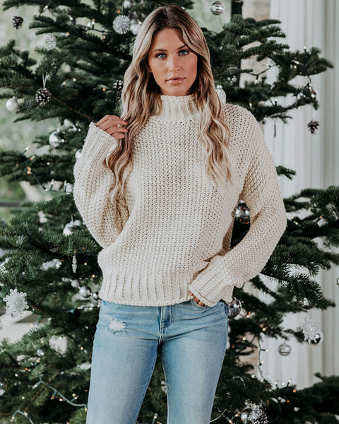 Britney Mock Neck Sweater - Ivory - FINAL SALE