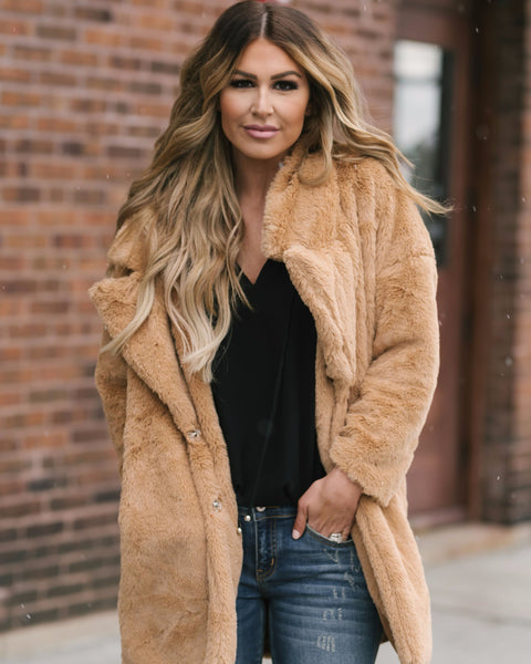 Brooklyn Pocketed Faux Fur Coat - Camel - FLASH SALE