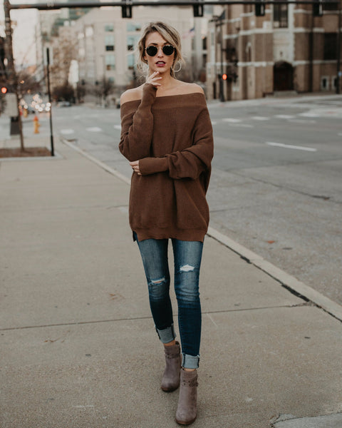 Chrissy Off The Shoulder Cotton Sweater - Camel