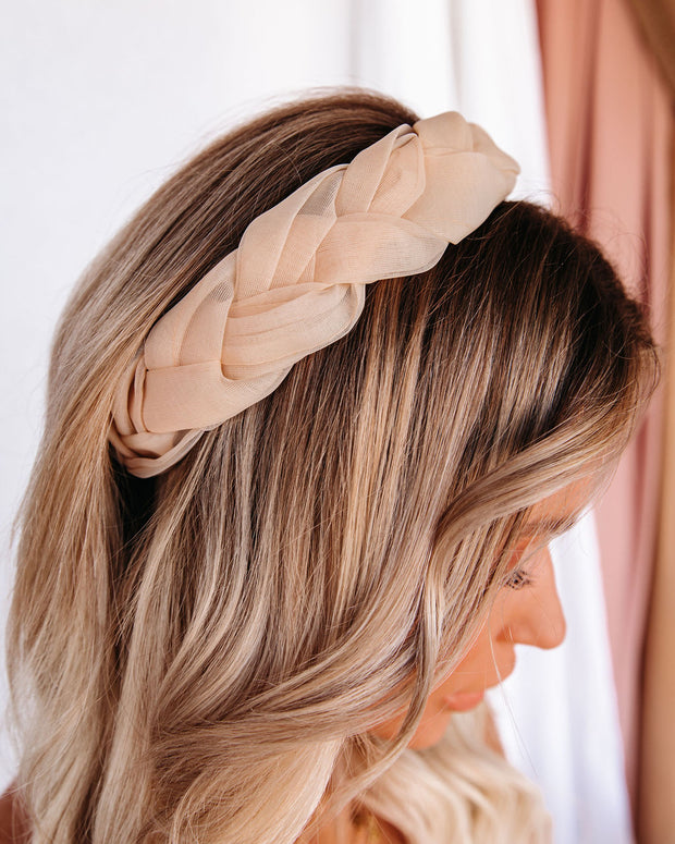 Bubbly Braided Tulle Headband - Cream