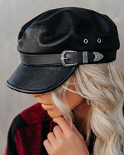 Buckle Up Faux Leather Cap