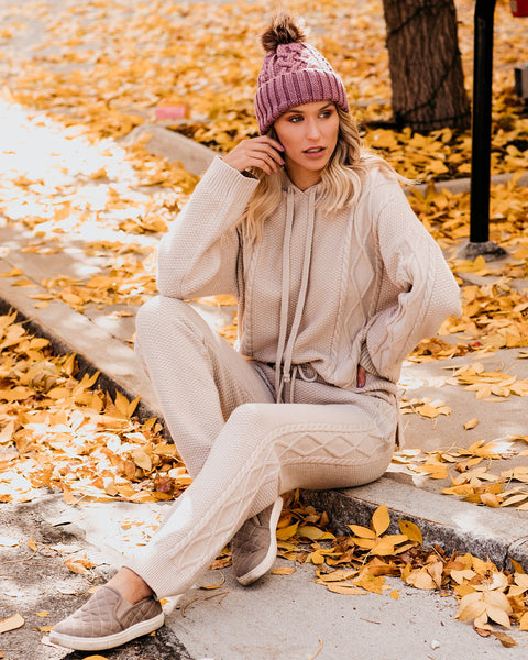 Bundle Of Joy Pocketed Cable Knit Joggers