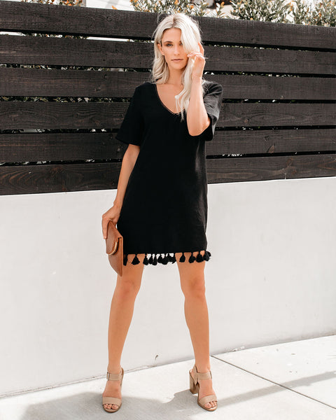 Bungalow Tassel Pocketed Shift Dress - Black