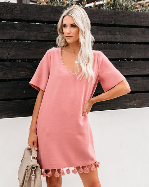 Bungalow Tassel Pocketed Shift Dress - Mauve