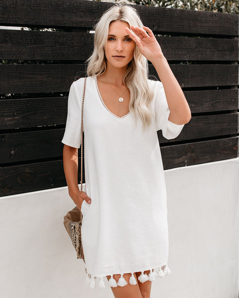 Bungalow Tassel Pocketed Shift Dress - White