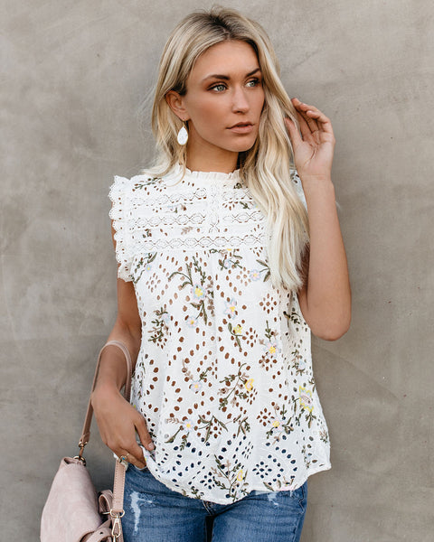 Burst Into Bloom Floral Eyelet Top