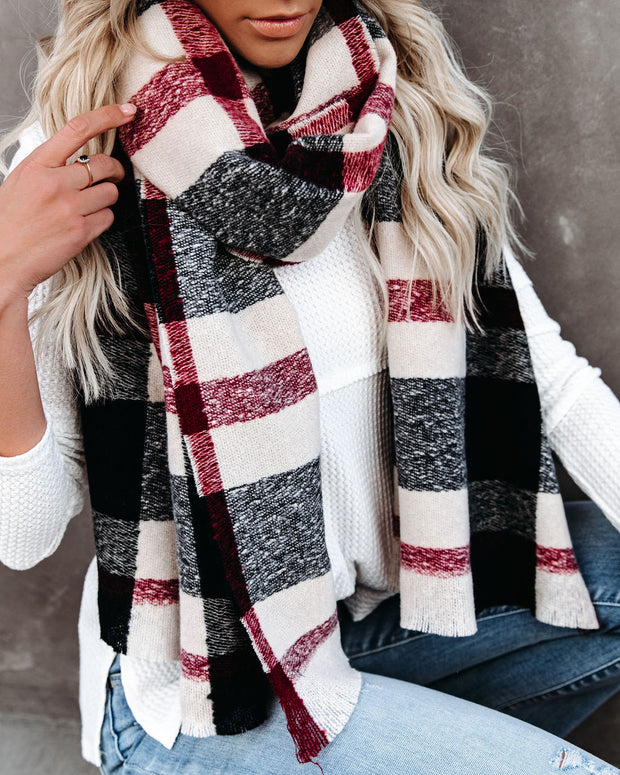 Slush Plaid Scarf - Red