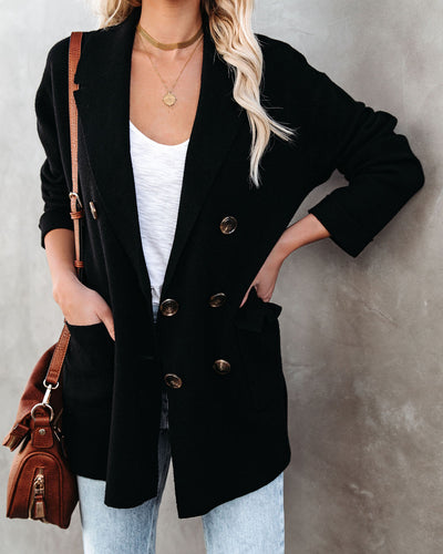 Business Casual Pocketed Knit Blazer - Black