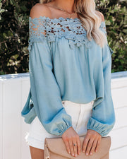 Business Is Blooming Lace Off The Shoulder Top - Dove Blue - FINAL SALE