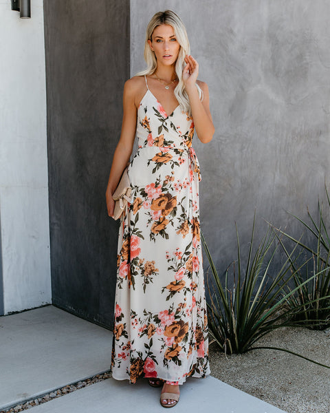 Busy Bee Floral Wrap Maxi Dress - FINAL SALE