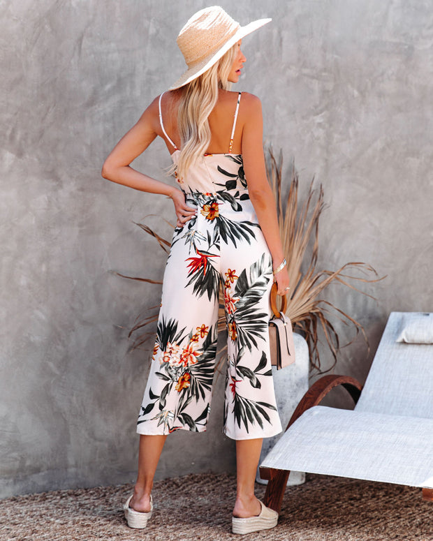 But First, Summer Palm Print Tie Front Jumpsuit view 2