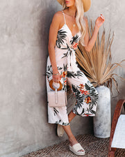 But First, Summer Palm Print Tie Front Jumpsuit view 3