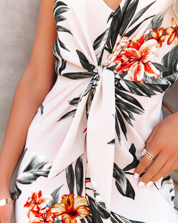 But First, Summer Palm Print Tie Front Jumpsuit view 4