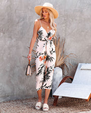 But First, Summer Palm Print Tie Front Jumpsuit view 5