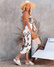But First, Summer Palm Print Tie Front Jumpsuit view 8