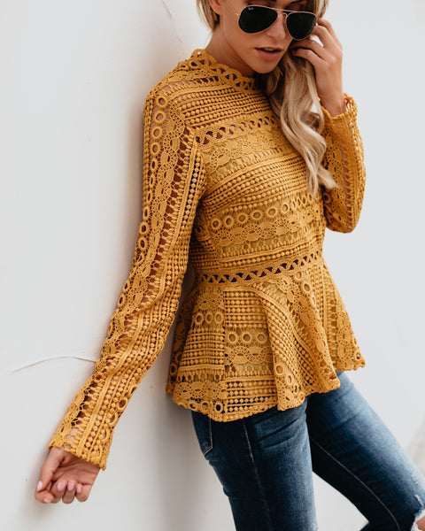 Buttercup Crochet Peplum Blouse - Marigold - FINAL SALE