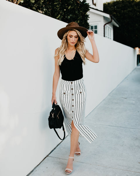 Presley Striped Button Down Skirt