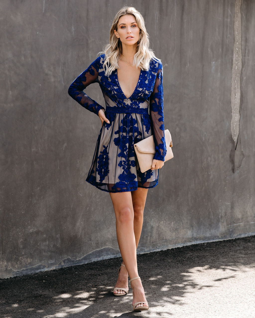 By Chance Long Sleeve Lace Dress Navy Final Sale