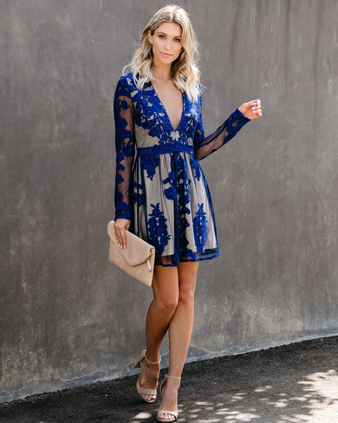 By Chance Long Sleeve Lace Dress - Navy
