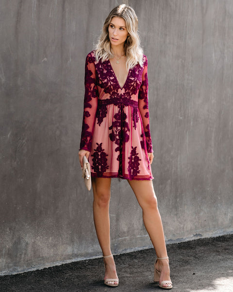 By Chance Long Sleeve Lace Dress - Wine