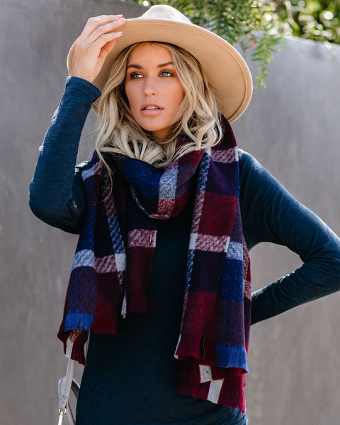 By The Bay Plaid Blanket Scarf