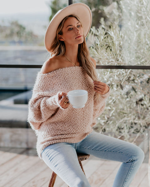 Cabin Fever Off The Shoulder Sweater - Petal