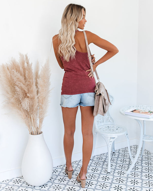 PREORDER - Cactus Washed Cotton Racerback Tank - Merlot view 7