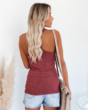 PREORDER - Cactus Washed Cotton Racerback Tank - Merlot view 2