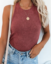 PREORDER - Cactus Washed Cotton Racerback Tank - Merlot view 5