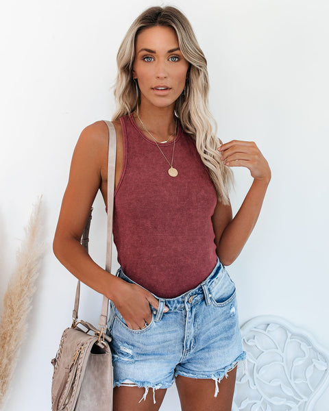 Cactus Washed Cotton Racerback Tank - Merlot