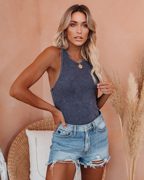 Cactus Washed Cotton Racerback Tank - Slate