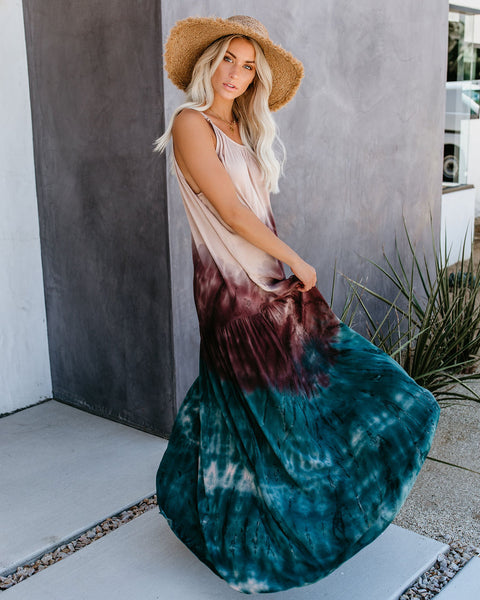Cadence Tiered Tie Dye High Low Maxi Dress - Nude/Plum