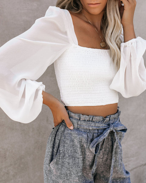 Caden Smocked Crop Top - White