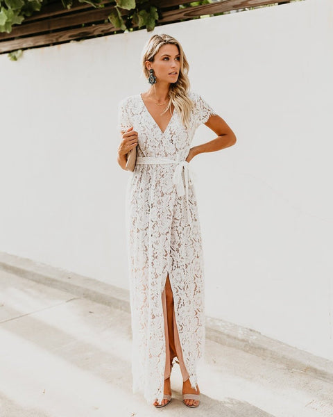 Calla Lace Short Sleeve Bardot Wrap Maxi Dress