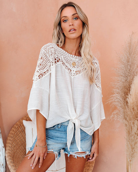 Callie Crochet Lace Tie Top