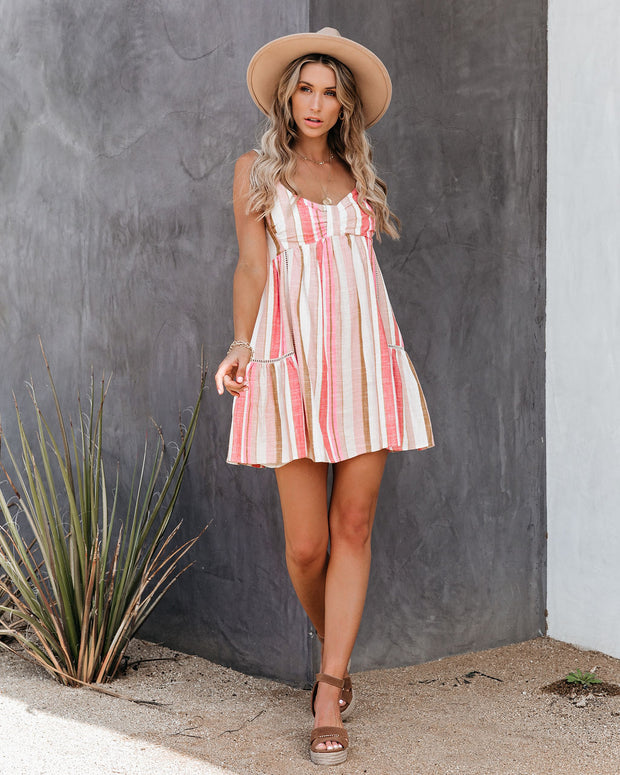 Calliope Linen Blend Striped Babydoll Tunic