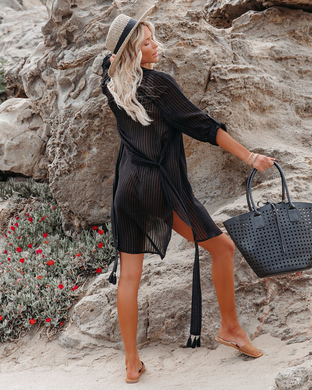 Calm Waters Cover-Up Shirt Dress - Black view 2