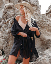 Calm Waters Cover-Up Shirt Dress - Black view 1