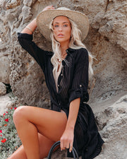 Calm Waters Cover-Up Shirt Dress - Black view 11